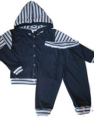 gyerek nadrág és kocsikabát, sötétkék színű, két részes szett, kisgyerekeknek, termékkép.