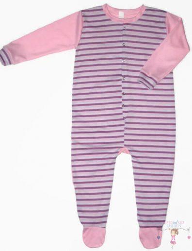 hosszú ujjú rugdalózó, hosszú ujjú, kislányos, lila csíkos, kisbabáknak, termékkép.