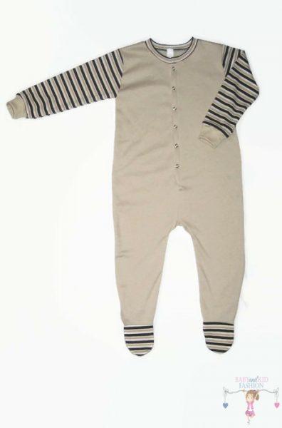 hosszú ujjú rugdalózó, talpas, drapp színű, kisgyerekeknek, termékkép.