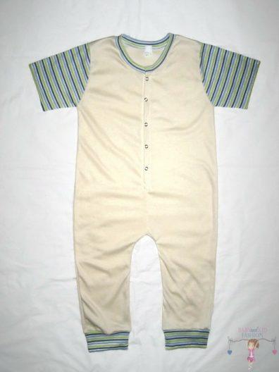 kezeslábas pizsama, vajszínű, rövid ujjú, hosszú szárú fazon, kisbabáknak, termékkép.