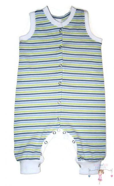 kezeslábas pizsama, kiwi csíkos, ujjatlan, kisgyerekeknek, termékkép.