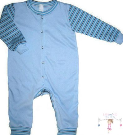 kezeslábas pizsama, hosszú ujjú, világoskék színű, kisbabáknak, termékkép.