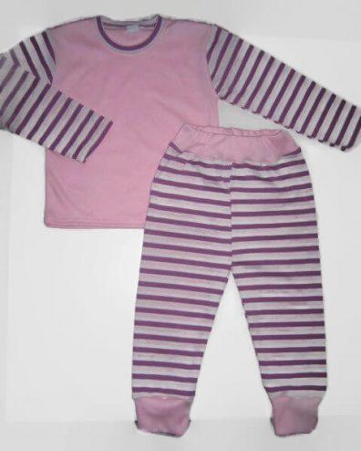Baba pizsama szett, rózsaszín felső lila csíkos ujjal és hozzá illő csíkos hosszú nadrággal termékkép.