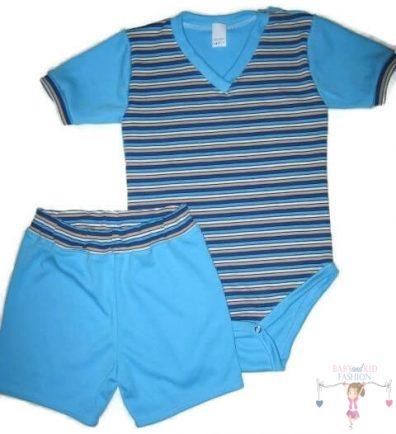 Fiú pamut rövid nadrág és baba body, tengerkék csíkos, kisbabáknak, termékkép.