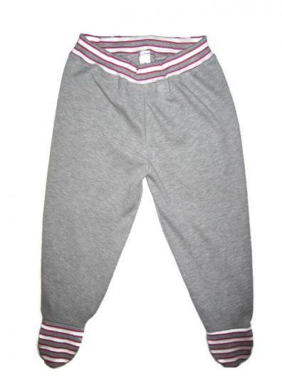 Lábfejes baba nadrág pamutból, világosszürke, pink-szürke csíkos passzékkal, termékkép.