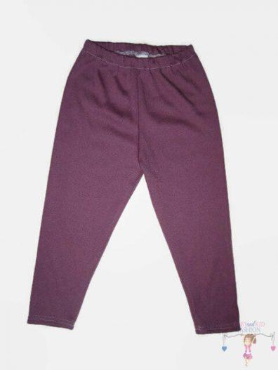 baba leggings, sötétlila színű, hosszú szárú, kislányoknak, termékkép.