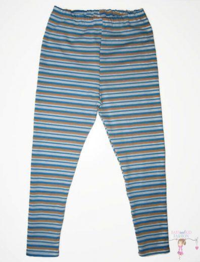 pamut leggings, kék csíkos, hosszú szárú, kislányoknak, termékkép.