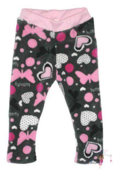 baba leggings, wellsoft anyagú, szürke alapon pink pillangós és szíves, kislányoknak, termékkép.