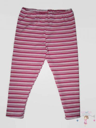 pamut leggings, rózsaszín csíkos, hosszú szárú, kislányoknak, termékkép.
