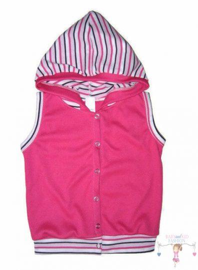 pamut baba mellény, pink színű, kapucnis, kisgyerekeknek, termékkép.