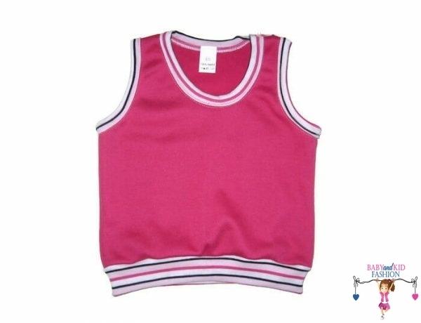 pamut baba mellény, kerek nyakú, pink színű, kisbabáknak, termékkép.