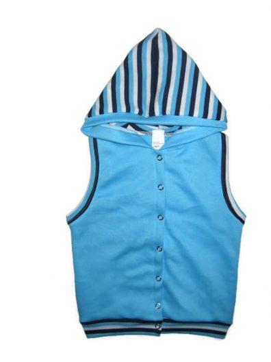 pamut baba mellény, türkizkék színű, kapucnis, kisgyerekeknek, termékkép.