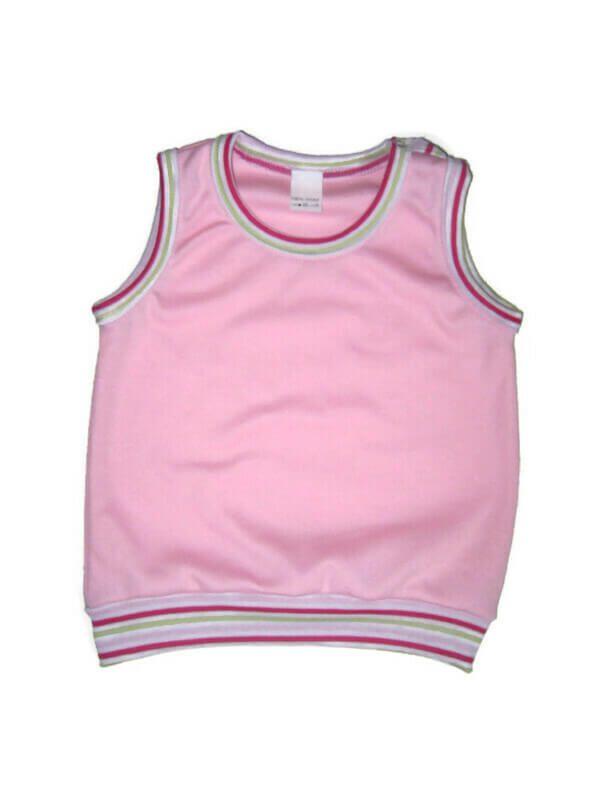 baba mellény, babarózsaszín kerek nyakú, kisbabáknak, termékkép.
