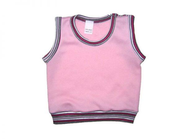 baba mellény, rózsaszín kerek nyakú, kisbabáknak, termékkép.