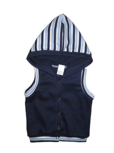 pamut baba mellény, sötétkék színű, 50-146-ig, kapucnis, kisgyerekeknek, termékkép.