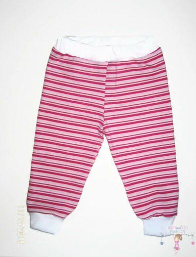 baba nadrág, hosszú szárú, pink csíkos, kisbabáknak, termékkép.