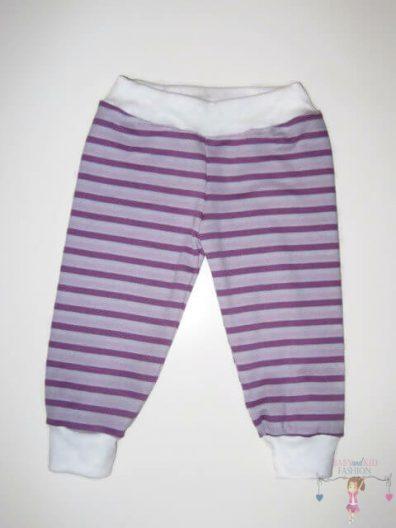 baba nadrág, hosszú szárú, lila csíkos, kisbabáknak, termékkép.