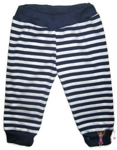 baba nadrág, hosszú szárú, sötétkék csíkos, kisbabáknak, termékkép.