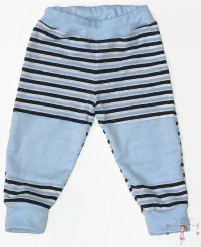 Gyerek nadrág, dupla térdfolttal, sötétkék csíkos, hosszú szárú, kisfiúknak, termékkép.
