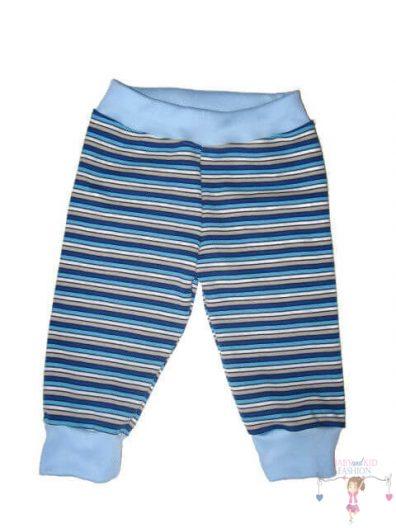 baba nadrág, hosszú szárú, tengerkék csíkos, kisbabáknak, termékkép.