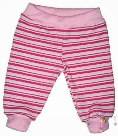 baba nadrág, hosszú szárú, rózsaszín csíkos, kisbabáknak, termékkép.