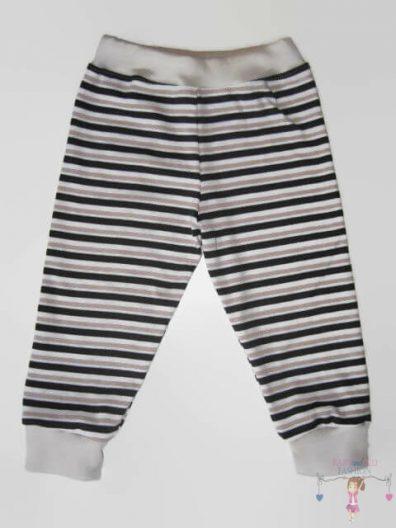 baba nadrág, hosszú szárú, drapp csíkos, kisbabáknak, termékkép.