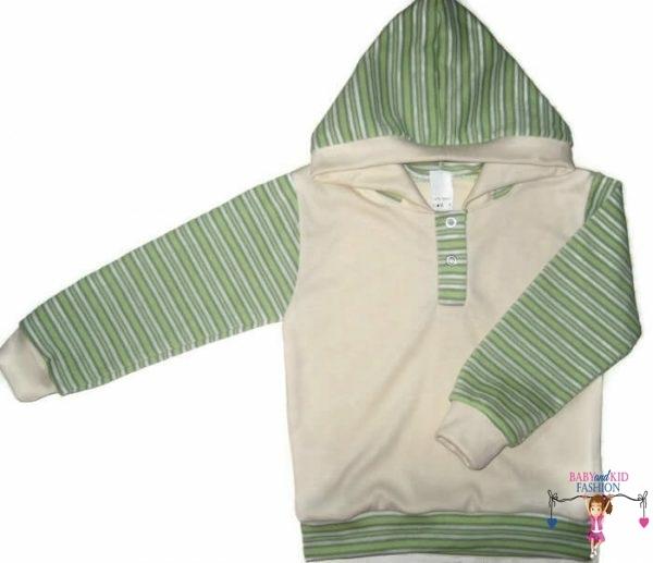 baba pulcsi, vajszínű, kapucnis, kisgyerekeknek, termékkép.