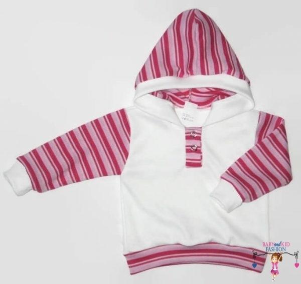 baba pulcsi, fehér színű, kapucnis, kisgyerekeknek, termékkép.