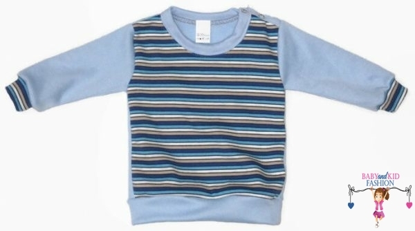 baba pulcsi, kék csíkos, vállnál patentos, kisgyerekeknek, termékkép.