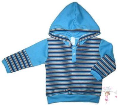 kisfiú pulcsi, kék csíkos, kapucnis, kisgyerekeknek, termékkép.