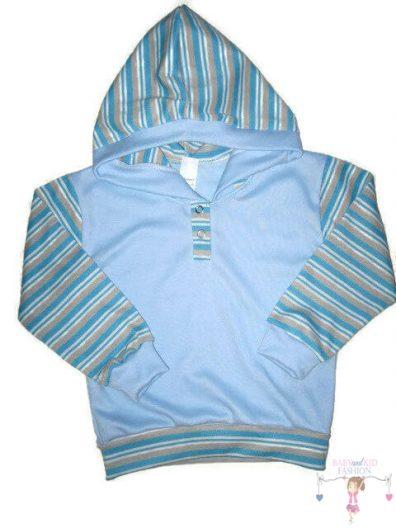 baba pulcsi, világoskék, kapucnis, kisgyerekeknek, termékkép.