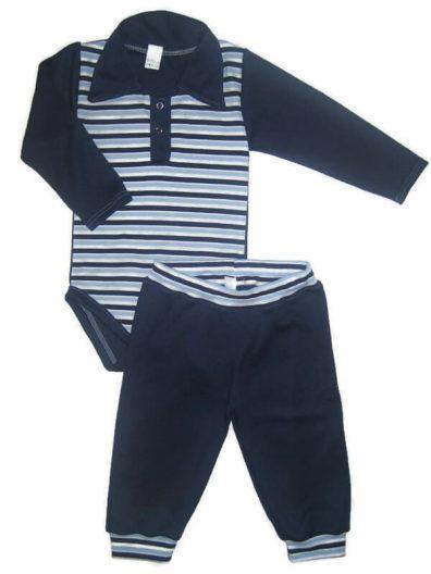 babaruha szett, kisfiú szett, két részes sötétkék színű szett, kisbabáknak, termékkép.