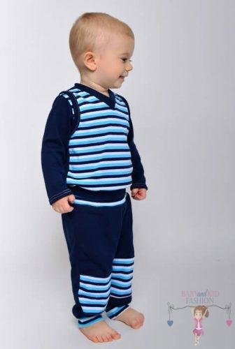 Babyandkidfashion, kisfiú sötétkék csíkos baba mellényben és hozzá illő térdfoltos nadrágban, kép.