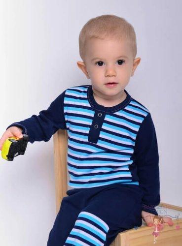 Babyandkidfashion, kisfiú sötétkék csíkos bodyban és hozzá illő térdfoltos nadrágban, kép.