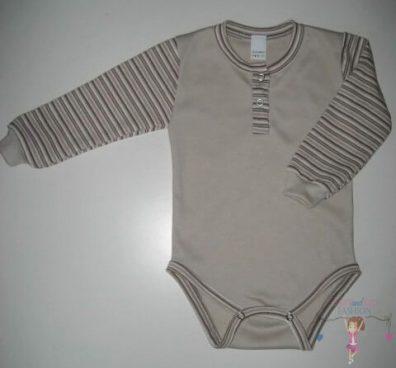 gyerek body, hosszú ujjú, drapp színű, kisbabáknak, termékkép.