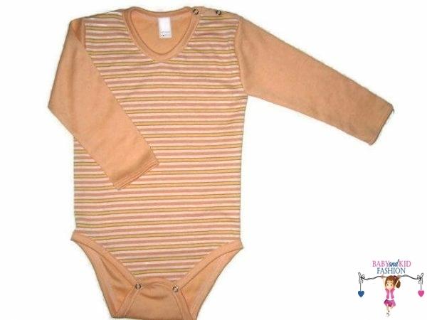 baba body, hosszú ujjú, barack csíkos, kisbabáknak, termékkép.