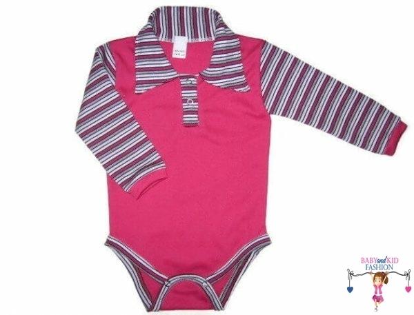 baba body, galléros pink színű, kisbabáknak, termékkép.