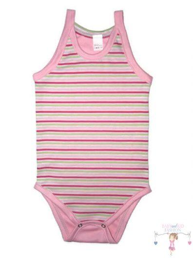 baba body, spagetti pántos, rózsaszín csíkos, kisbabáknak, termékkép.