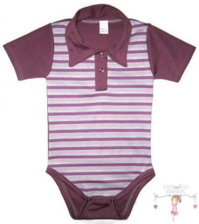 baba body, galléros lila csíkos, kisbabáknak, termékkép.