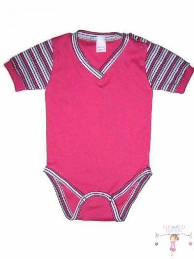 baba body, rövid ujjú pink színű, kisbabáknak, termékkép.