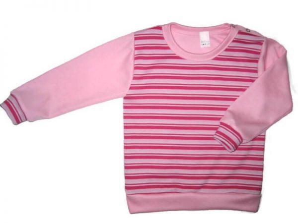 baba pulcsi, pink csíkos, vállnál patentos, kisgyerekeknek, termékkép.