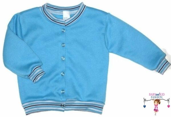 kisfiú kardigán, kerek nyakú türkizkék színű kocsikabát, kisbabáknak, termékkép.
