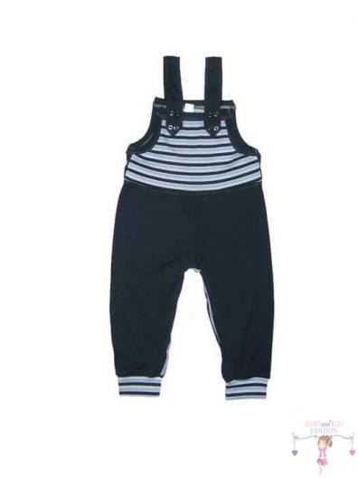 baba kertésznadrág, sötétkék színű, hosszú szárú, kisbabáknak, gyerek méretekben, termékkép.