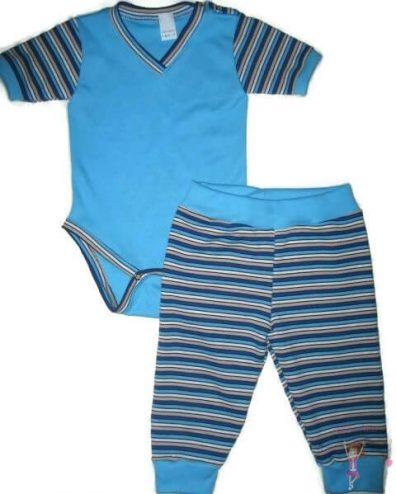 gyerek body és gyerek nadrág, kisfiú szett, két részes türkizkék színű szett, kisbabáknak, termékkép.