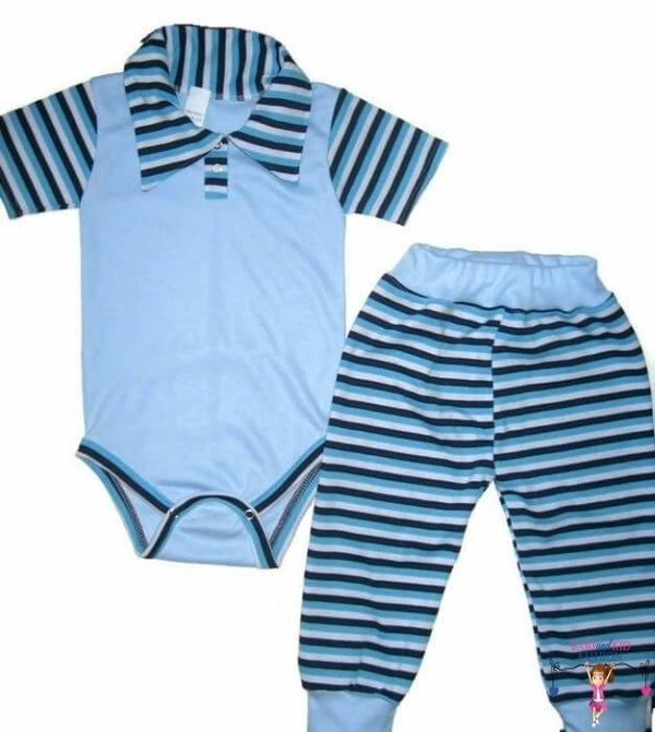 babaruha szett, kisfiú szett, két részes világoskék színű szett, kisbabáknak, termékkép.