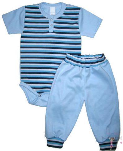 gyerek body és gyerek nadrág, kisfiú szett, két részes világoskék színű szett, kisbabáknak, termékkép.