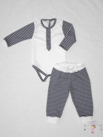 fiú gyerekruha szett, kisfiú szett, két részes sötétkék csíkos szett, kisbabáknak, termékkép.
