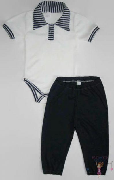 babaruha szett, galléros rövid ujjú body és hosszú fazonú nadrág, kisbabáknak, termékkép.