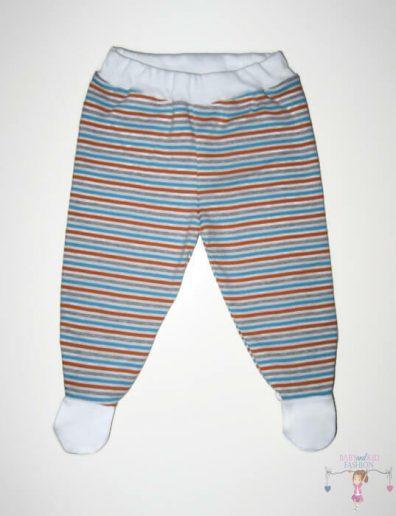 lábfejes babanadrág, narancs csíkos, kisgyerekeknek, termékkép.