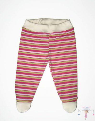 lábfejes babanadrág, pink csíkos színű, kisbabáknak, termékkép.
